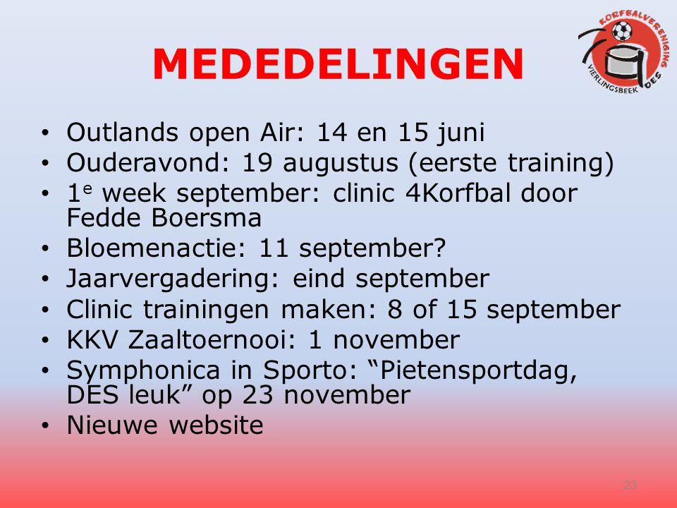 MEDEDELINGEN Outlands open Air: 14 en 15 juni Ouderavond: 19 augustus (eerste training) 1 e week september: clinic 4Korfbal door Fedde Boersma Bloemenactie: 11 september.