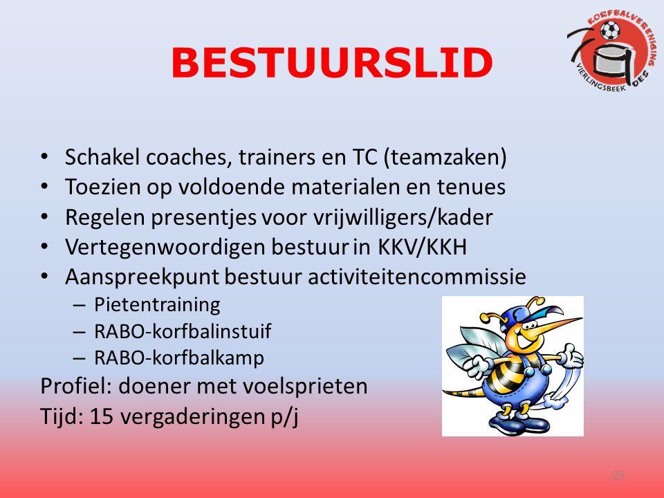 BESTUURSLID Schakel coaches, trainers en TC (teamzaken) Toezien op voldoende materialen en tenues Regelen presentjes voor vrijwilligers/kader Vertegen