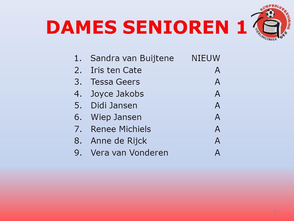 DAMES SENIOREN 1 1.Sandra van BuijteneNIEUW 2.Iris ten Cate A 3.Tessa Geers A 4.Joyce Jakobs A 5.Didi Jansen A 6.Wiep Jansen A 7.Renee Michiels A 8.An