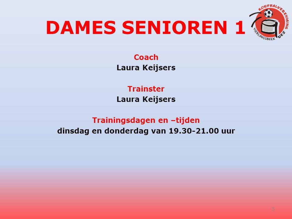 DAMES SENIOREN 1 Coach Laura Keijsers Trainster Laura Keijsers Trainingsdagen en –tijden dinsdag en donderdag van 19.30-21.00 uur 5
