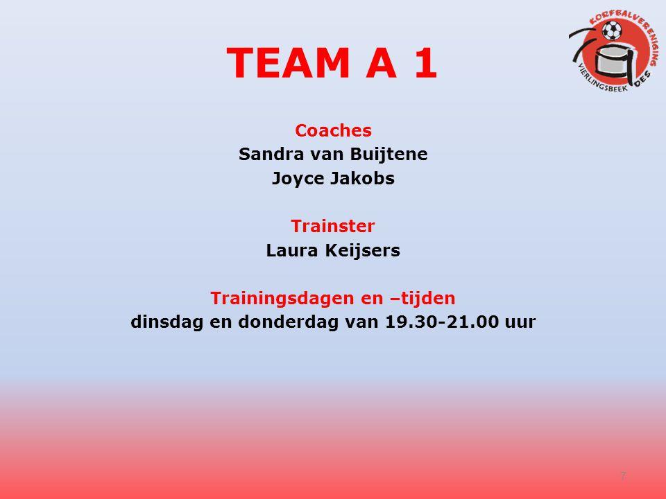 TEAM A 1 Coaches Sandra van Buijtene Joyce Jakobs Trainster Laura Keijsers Trainingsdagen en –tijden dinsdag en donderdag van 19.30-21.00 uur 7