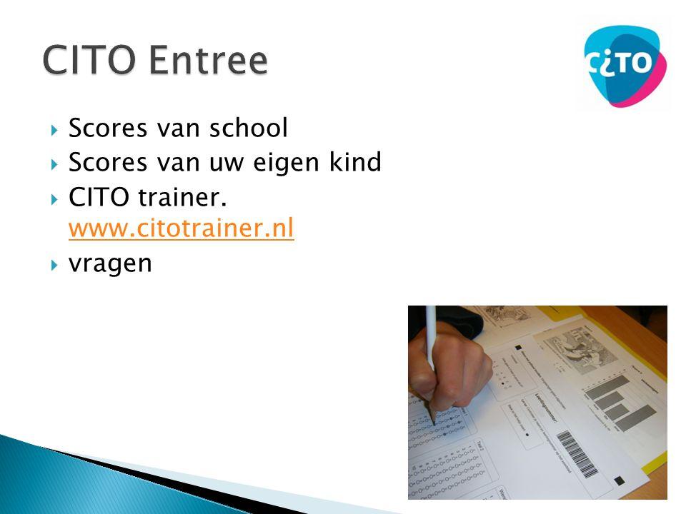  Scores van school  Scores van uw eigen kind  CITO trainer. www.citotrainer.nl www.citotrainer.nl  vragen