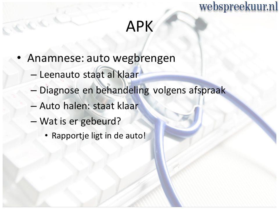 APK Anamnese: auto wegbrengen – Leenauto staat al klaar – Diagnose en behandeling volgens afspraak – Auto halen: staat klaar – Wat is er gebeurd.