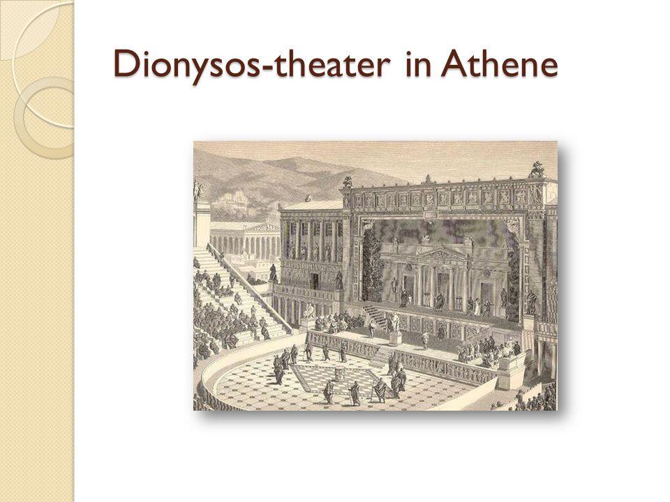Dionysia  Algemene benaming voor feest van Dionysos  Was één van de belangrijkste goden  Men onderscheidt 2 verschillende feesten - Kleine of landelijke - Grote of stedelijke  Wijn en groeikracht van de natuur  Dieren temmen met lofliederen, orgieën, wijn drinken