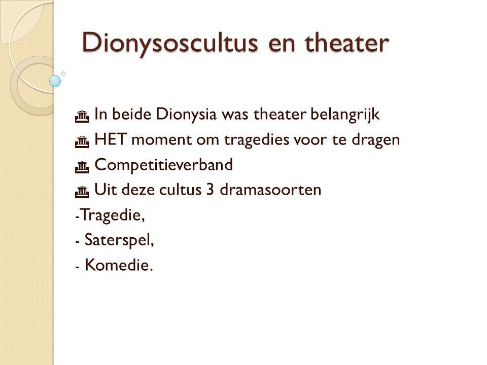 Theatergebouw  Théatron: rijen zitplaatsen in een halve cirkel  Orchèstra: cirkelvormige vloer waar het koor zingt en danst  Skene: oorspronkelijk berghok/verkleedruimte, later deel van het decor.