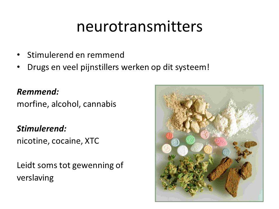 neurotransmitters Stimulerend en remmend Drugs en veel pijnstillers werken op dit systeem! Remmend: morfine, alcohol, cannabis Stimulerend: nicotine,