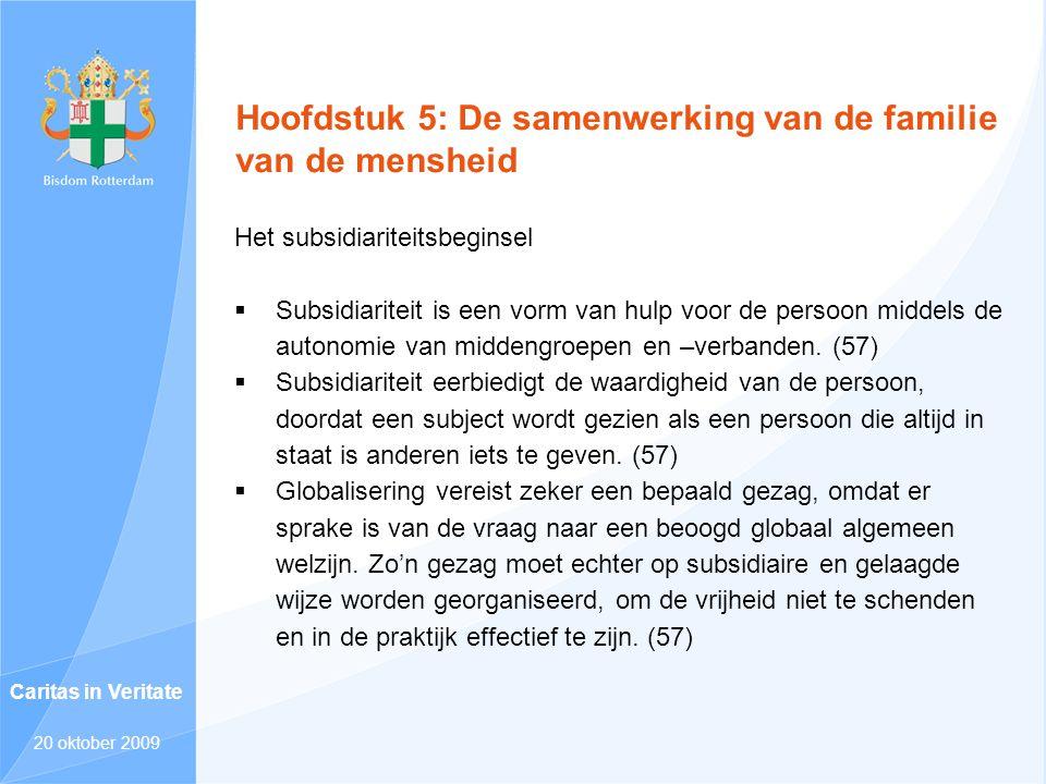 Hoofdstuk 5: De samenwerking van de familie van de mensheid Het subsidiariteitsbeginsel  Subsidiariteit is een vorm van hulp voor de persoon middels
