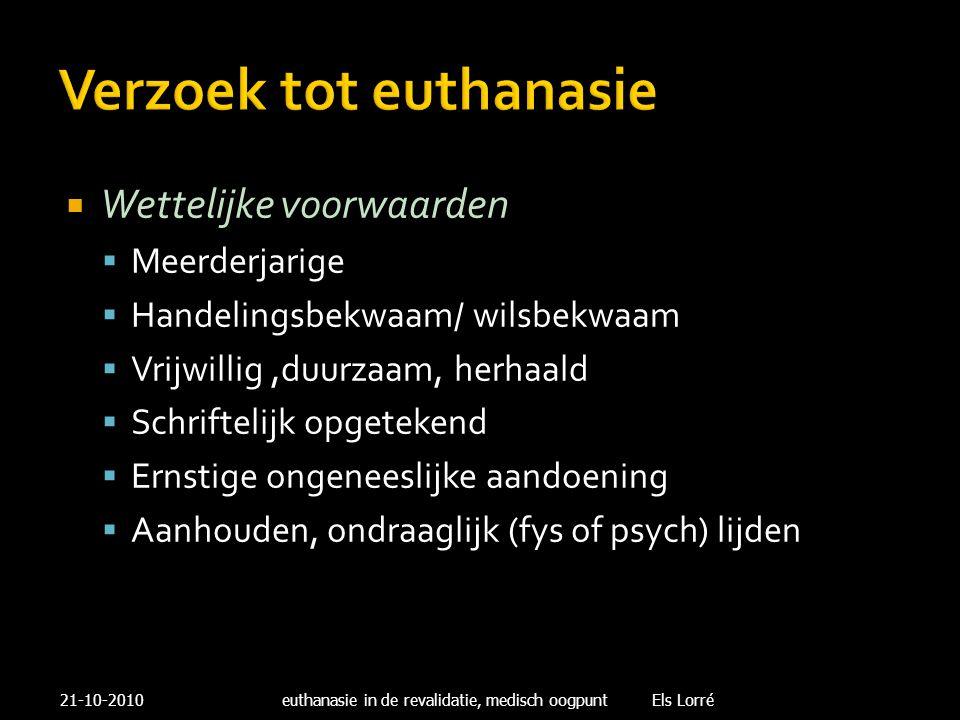 Verzoek tot euthanasie  Wettelijke voorwaarden  Meerderjarige  Handelingsbekwaam/ wilsbekwaam  Vrijwillig,duurzaam, herhaald  Schriftelijk opgete
