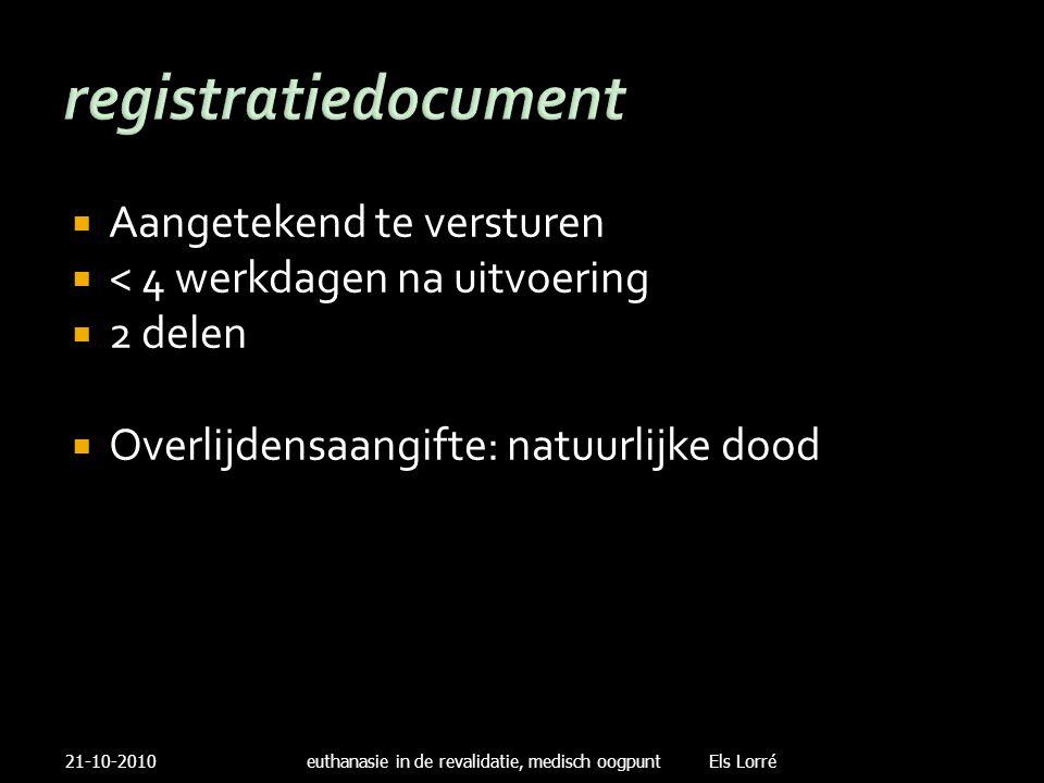 registratiedocument  Aangetekend te versturen  < 4 werkdagen na uitvoering  2 delen  Overlijdensaangifte: natuurlijke dood 21-10-2010euthanasie in