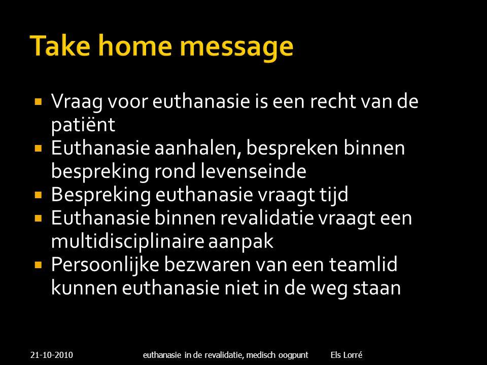 Take home message  Vraag voor euthanasie is een recht van de patiënt  Euthanasie aanhalen, bespreken binnen bespreking rond levenseinde  Bespreking