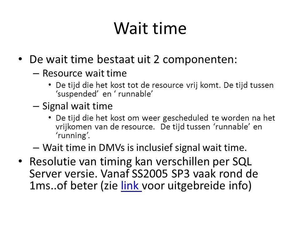 Wait time De wait time bestaat uit 2 componenten: – Resource wait time De tijd die het kost tot de resource vrij komt. De tijd tussen 'suspended' en '