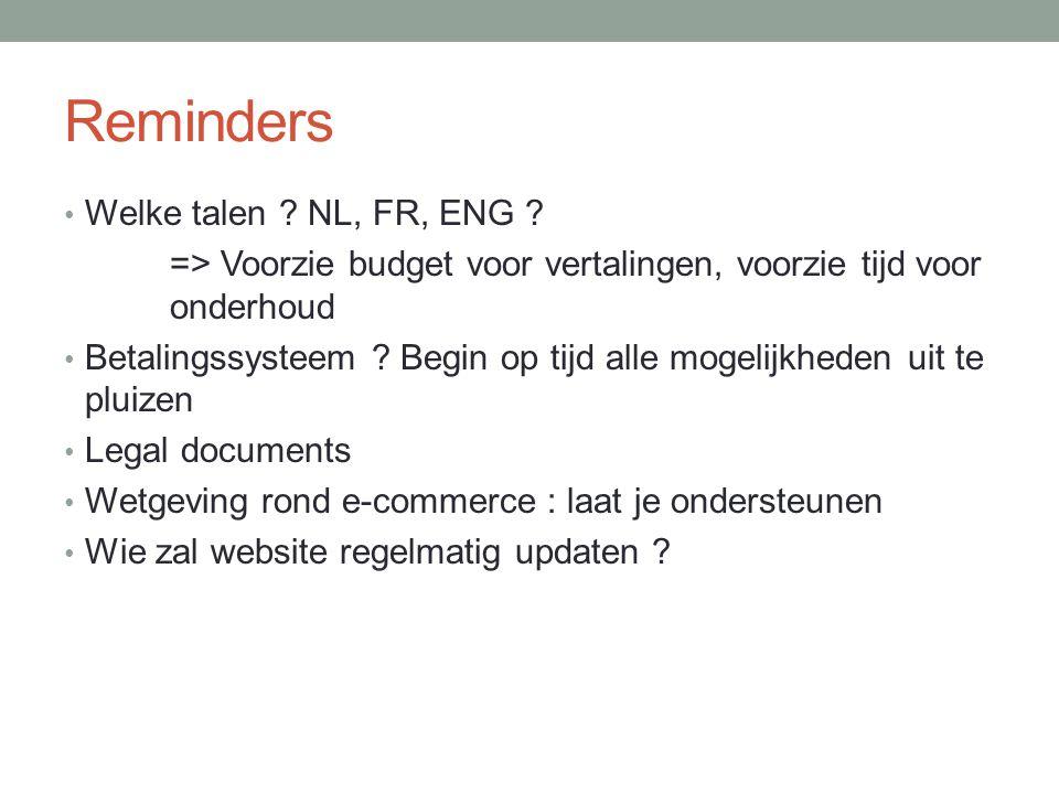 Reminders Welke talen . NL, FR, ENG .