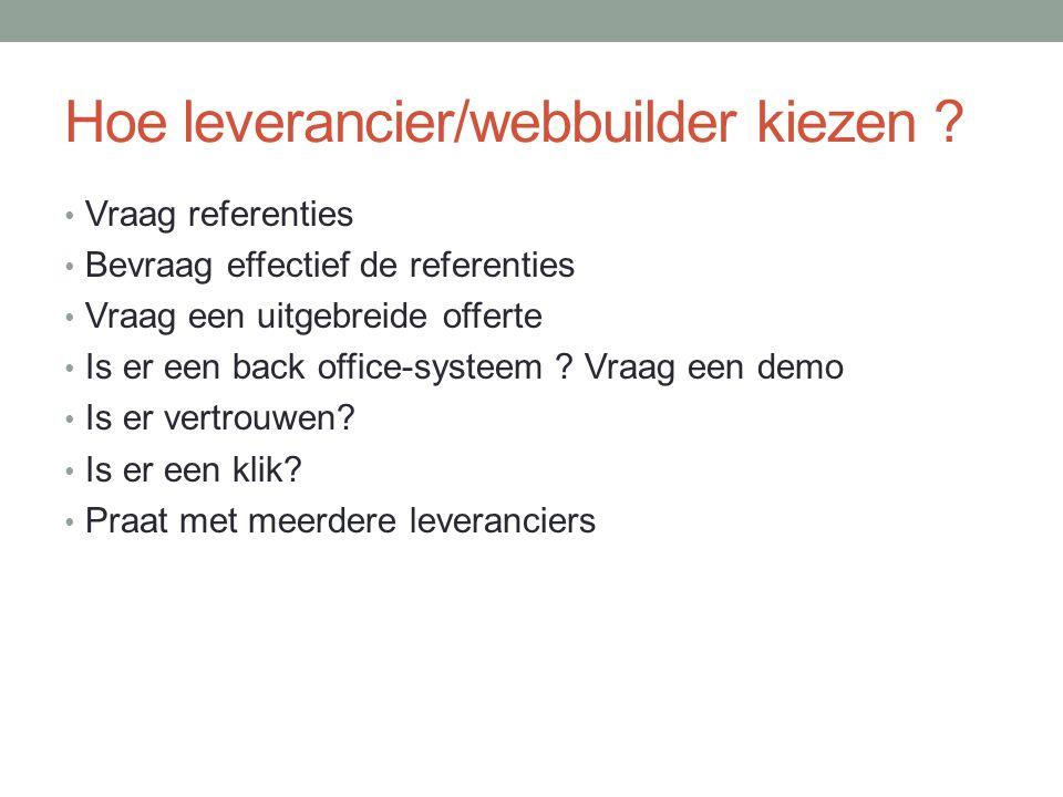 Hoe leverancier/webbuilder kiezen .