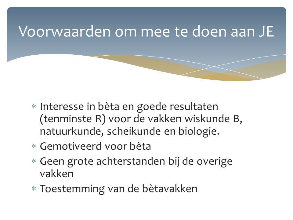  Interesse in bèta en goede resultaten (tenminste R) voor de vakken wiskunde B, natuurkunde, scheikunde en biologie.