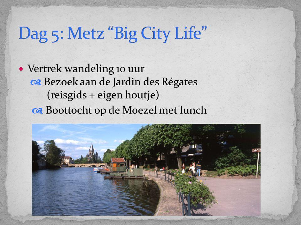 Vertrek wandeling 10 uur  Bezoek aan de Jardin des Régates (reisgids + eigen houtje)  Boottocht op de Moezel met lunch