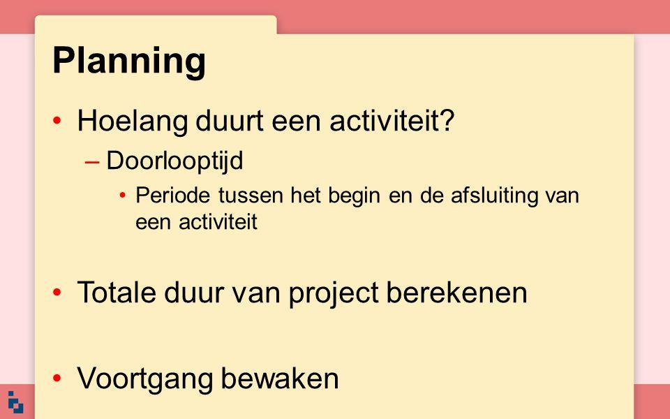 Planning Hoelang duurt een activiteit? –Doorlooptijd Periode tussen het begin en de afsluiting van een activiteit Totale duur van project berekenen Vo