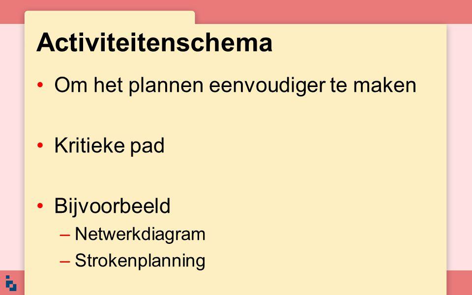 Activiteitenschema Om het plannen eenvoudiger te maken Kritieke pad Bijvoorbeeld –Netwerkdiagram –Strokenplanning