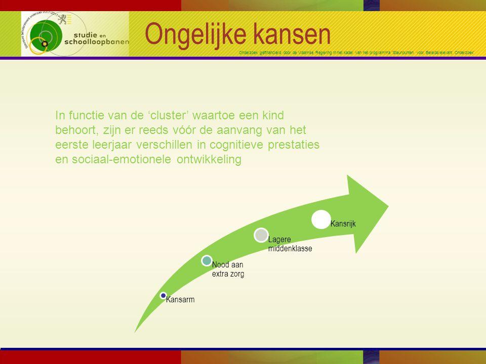 Onderzoek gefinancierd door de Vlaamse Regering in het kader van het programma 'Steunpunten voor Beleidsrelevant Onderzoek' Ongelijke kansen In functie van de 'cluster' waartoe een kind behoort, zijn er reeds vóór de aanvang van het eerste leerjaar verschillen in cognitieve prestaties en sociaal-emotionele ontwikkeling