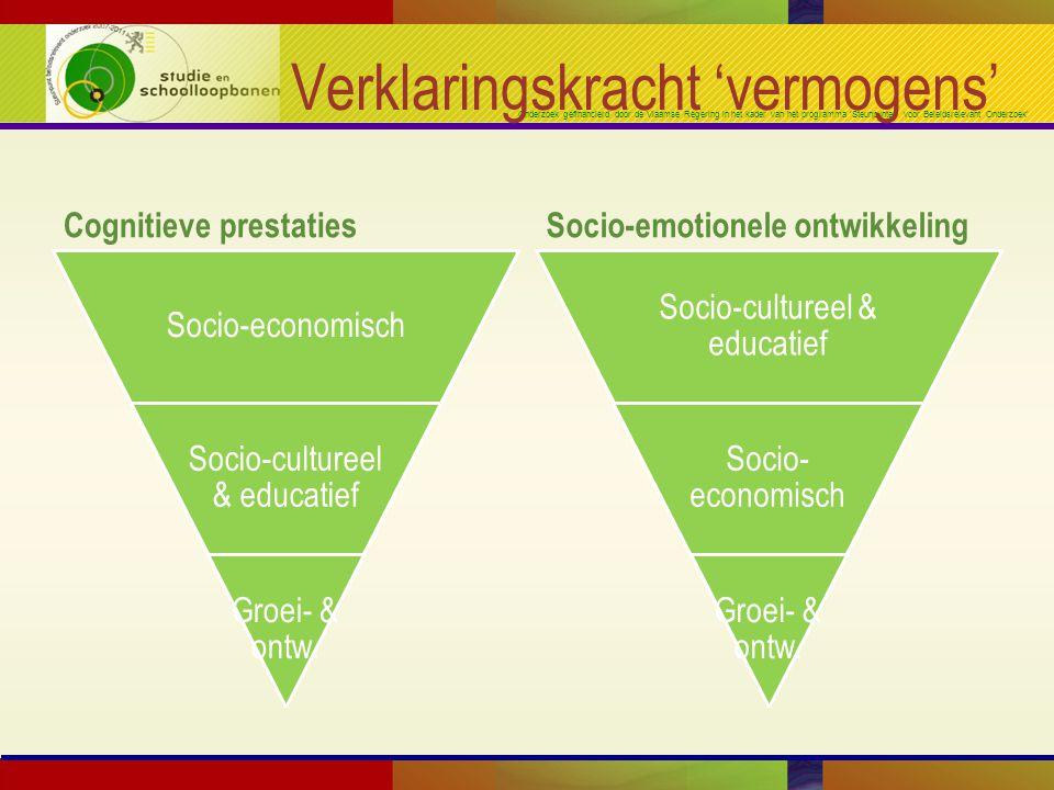 Onderzoek gefinancierd door de Vlaamse Regering in het kader van het programma 'Steunpunten voor Beleidsrelevant Onderzoek' Verklaringskracht 'vermogens' Cognitieve prestatiesSocio-emotionele ontwikkeling