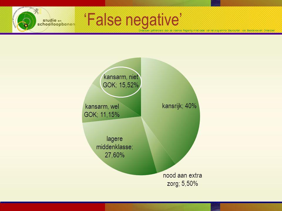 Onderzoek gefinancierd door de Vlaamse Regering in het kader van het programma 'Steunpunten voor Beleidsrelevant Onderzoek' 'False negative'
