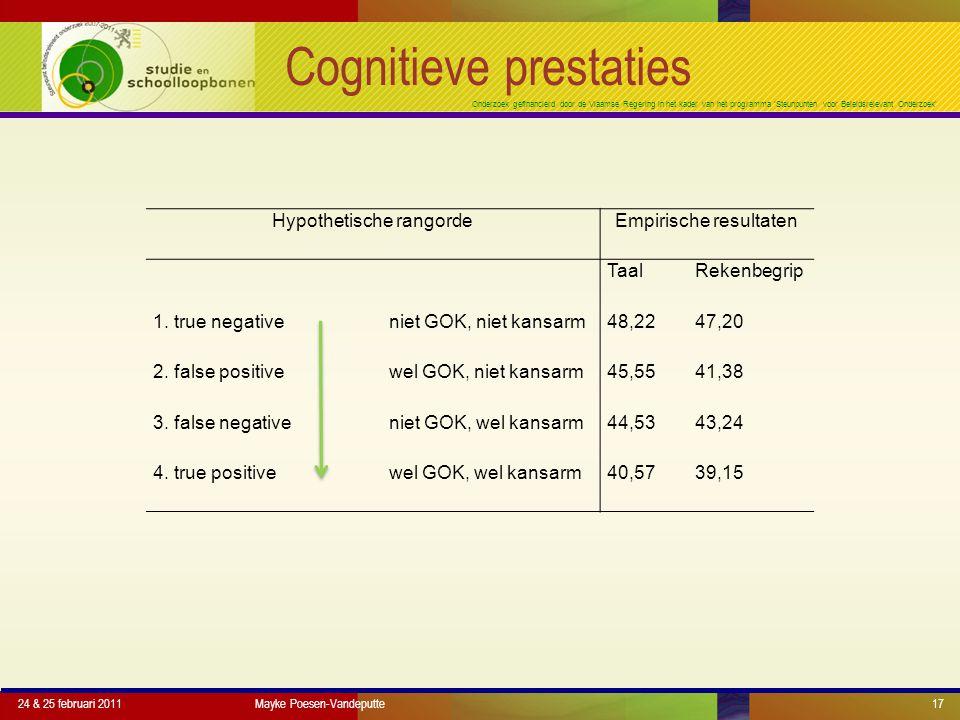 Onderzoek gefinancierd door de Vlaamse Regering in het kader van het programma 'Steunpunten voor Beleidsrelevant Onderzoek' Cognitieve prestaties 24 & 25 februari 2011Mayke Poesen-Vandeputte17 Hypothetische rangordeEmpirische resultaten TaalRekenbegrip 1.