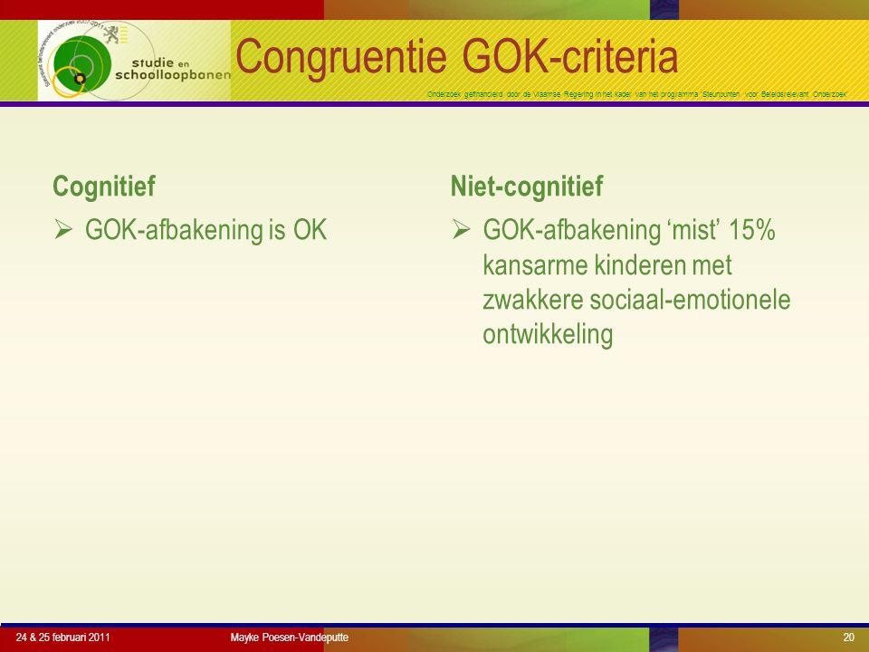 Onderzoek gefinancierd door de Vlaamse Regering in het kader van het programma 'Steunpunten voor Beleidsrelevant Onderzoek' Congruentie GOK-criteria Cognitief  GOK-afbakening is OK Niet-cognitief  GOK-afbakening 'mist' 15% kansarme kinderen met zwakkere sociaal-emotionele ontwikkeling 24 & 25 februari 2011Mayke Poesen-Vandeputte20