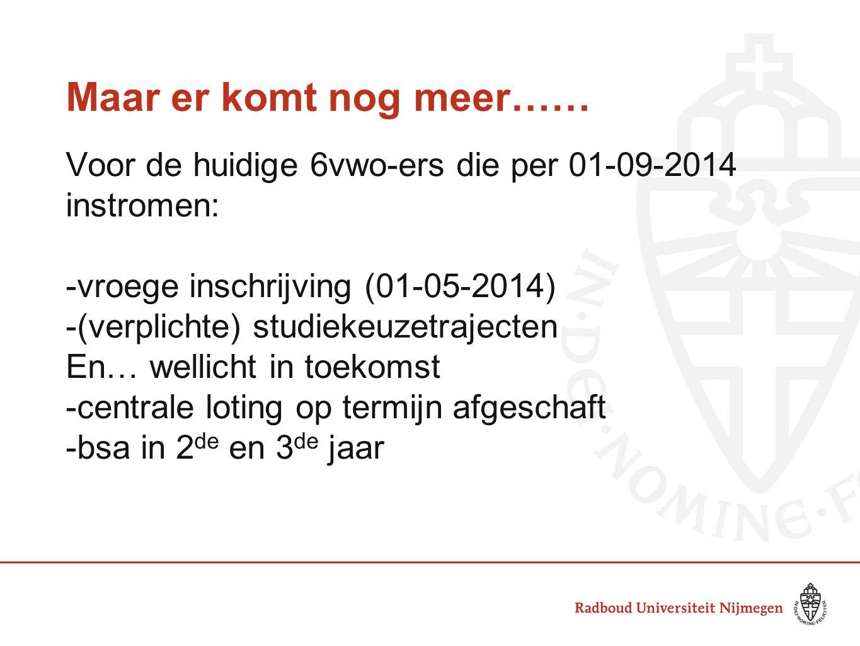 Maar er komt nog meer…… Voor de huidige 6vwo-ers die per 01-09-2014 instromen: -vroege inschrijving (01-05-2014) -(verplichte) studiekeuzetrajecten En