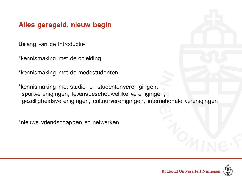 Alles geregeld, nieuw begin Belang van de Introductie *kennismaking met de opleiding *kennismaking met de medestudenten *kennismaking met studie- en s