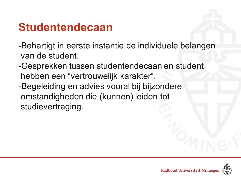 """Studentendecaan -Behartigt in eerste instantie de individuele belangen van de student. -Gesprekken tussen studentendecaan en student hebben een """"vertr"""