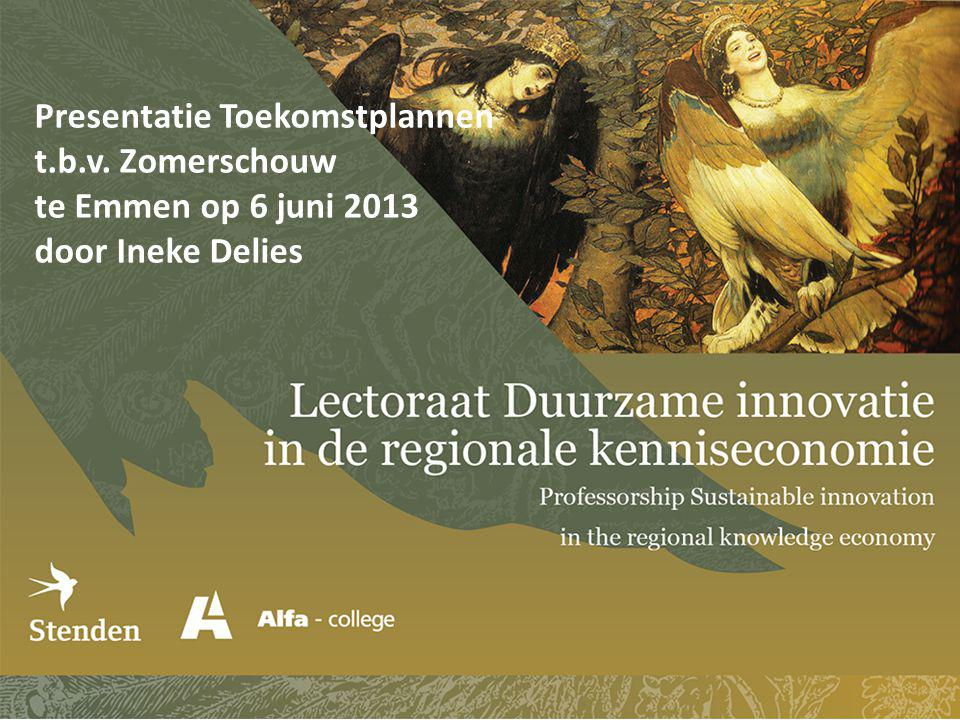 Presentatie Toekomstplannen t.b.v. Zomerschouw te Emmen op 6 juni 2013 door Ineke Delies