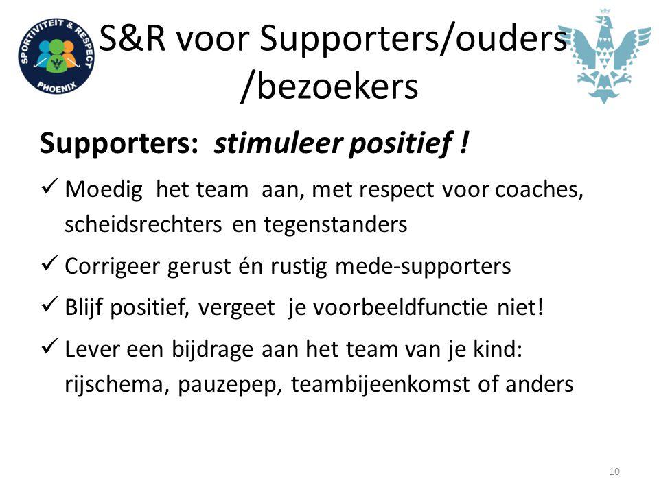 S&R voor Supporters/ouders /bezoekers Supporters: stimuleer positief ! Moedig het team aan, met respect voor coaches, scheidsrechters en tegenstanders