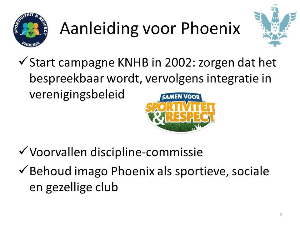Aanleiding voor Phoenix Start campagne KNHB in 2002: zorgen dat het bespreekbaar wordt, vervolgens integratie in verenigingsbeleid Voorvallen discipli
