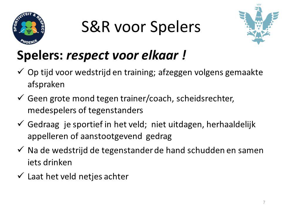 S&R voor Spelers Spelers: respect voor elkaar ! Op tijd voor wedstrijd en training; afzeggen volgens gemaakte afspraken Geen grote mond tegen trainer/