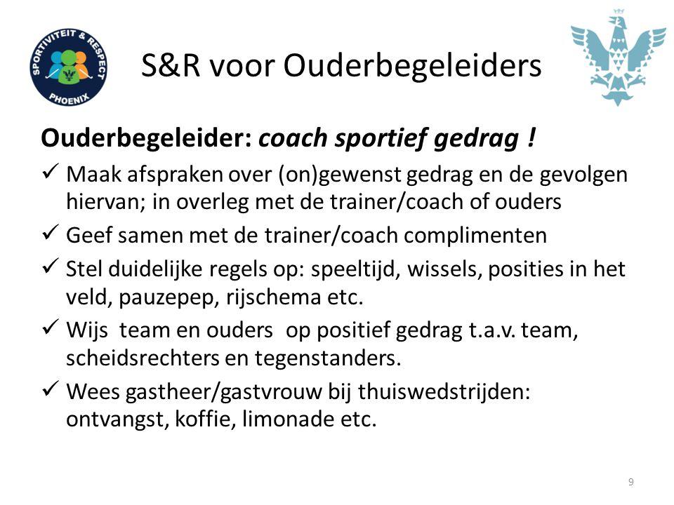 S&R voor Ouderbegeleiders Ouderbegeleider: coach sportief gedrag ! Maak afspraken over (on)gewenst gedrag en de gevolgen hiervan; in overleg met de tr