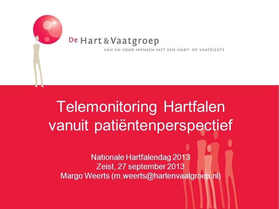 De Hart&Vaatgroep In 2009 ontstaan uit fusie 5 patiëntenorganisaties Fasen van het ziek zijn: -Je krijgt wat (kwaliteit en beschikbaarheid) -Je houdt wat (zelfmanagement en regie) -Je leert er mee leven (participatie) Intensieve samenwerking met de Hartstichting