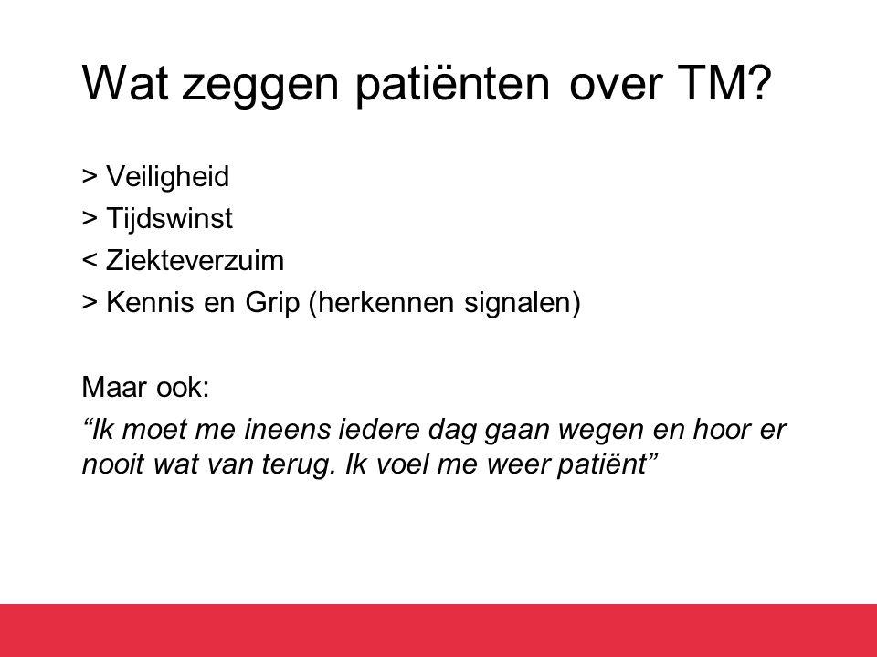 """Wat zeggen patiënten over TM? > Veiligheid > Tijdswinst < Ziekteverzuim > Kennis en Grip (herkennen signalen) Maar ook: """"Ik moet me ineens iedere dag"""