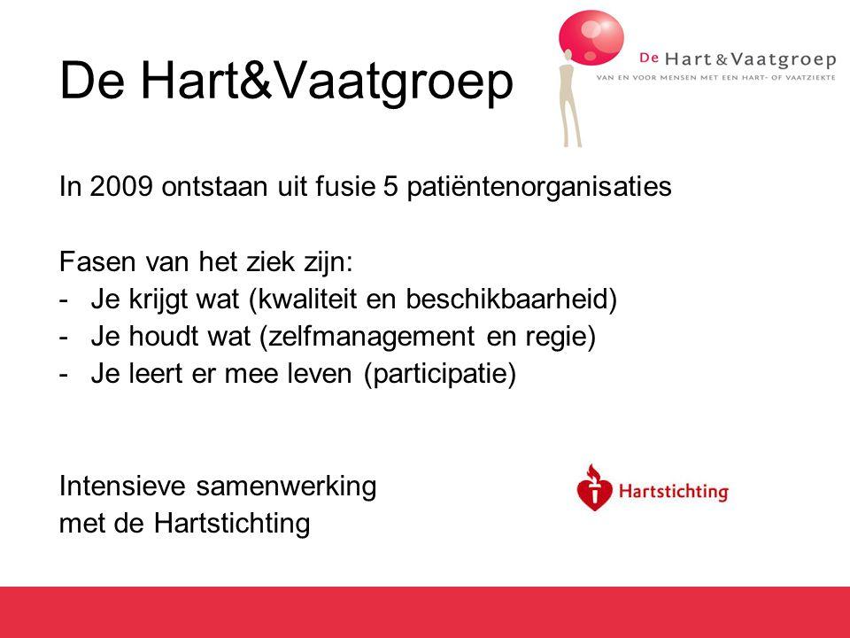 De Hart&Vaatgroep In 2009 ontstaan uit fusie 5 patiëntenorganisaties Fasen van het ziek zijn: -Je krijgt wat (kwaliteit en beschikbaarheid) -Je houdt