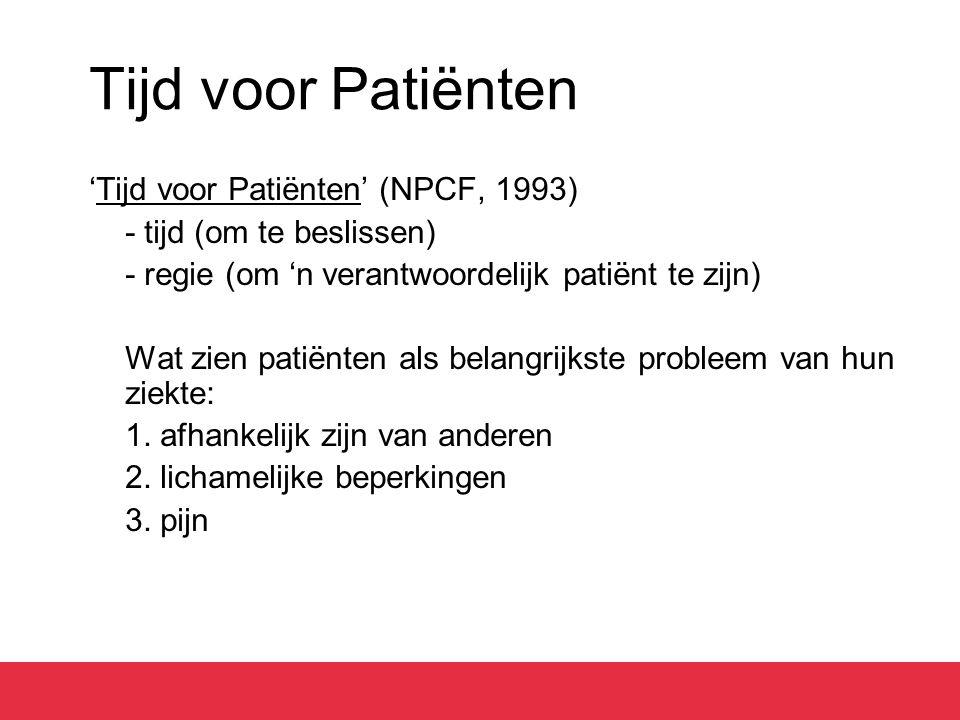 Tijd voor Patiënten 'Tijd voor Patiënten' (NPCF, 1993) - tijd (om te beslissen) - regie (om 'n verantwoordelijk patiënt te zijn) Wat zien patiënten al