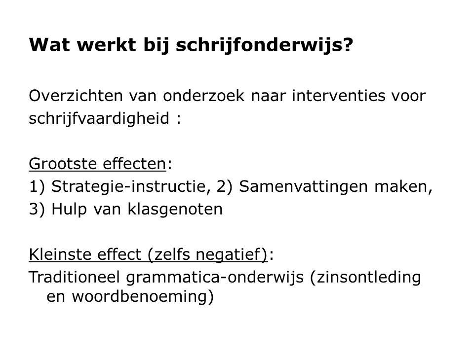Wat werkt bij schrijfonderwijs? Overzichten van onderzoek naar interventies voor schrijfvaardigheid : Grootste effecten: 1) Strategie-instructie, 2) S