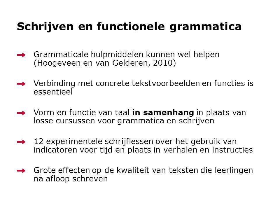 Schrijven en functionele grammatica Grammaticale hulpmiddelen kunnen wel helpen (Hoogeveen en van Gelderen, 2010) Verbinding met concrete tekstvoorbee