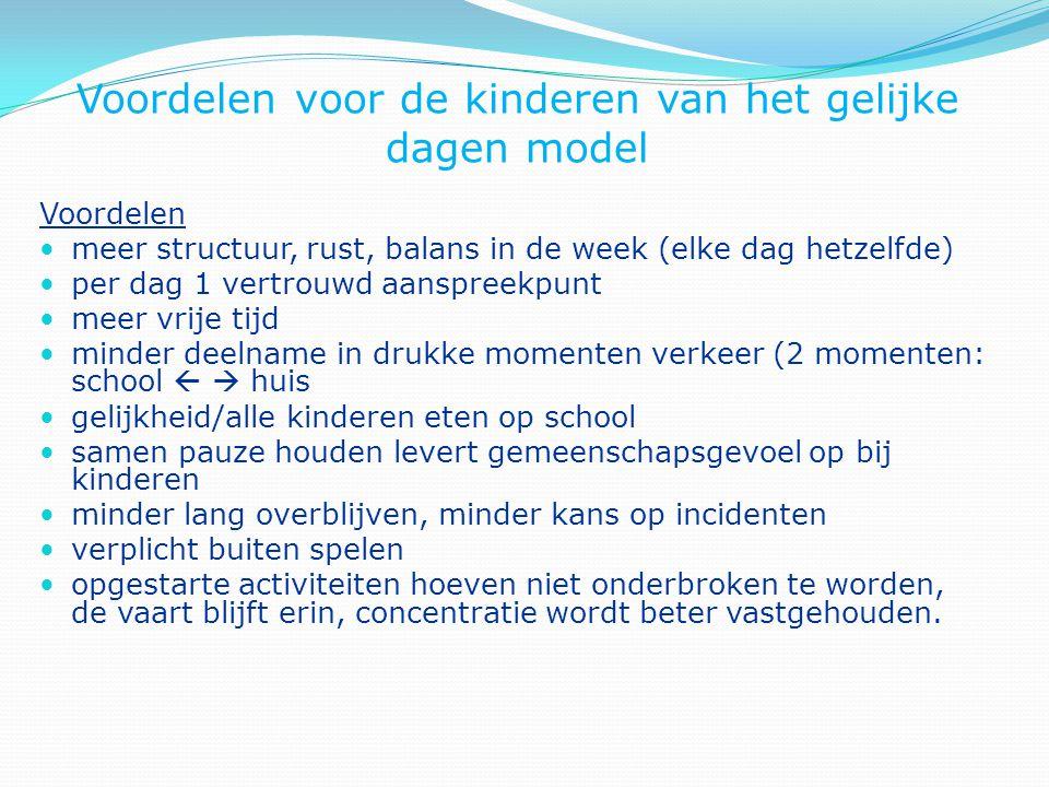 Voordelen voor de kinderen van het gelijke dagen model Voordelen meer structuur, rust, balans in de week (elke dag hetzelfde) per dag 1 vertrouwd aans