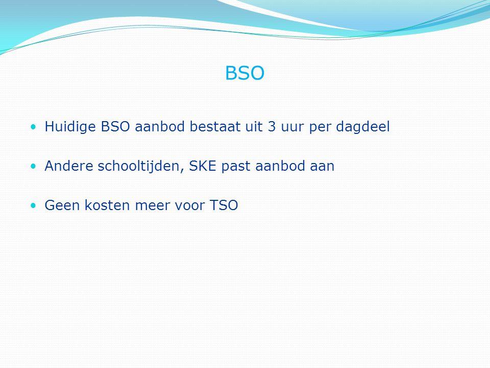 BSO Huidige BSO aanbod bestaat uit 3 uur per dagdeel Andere schooltijden, SKE past aanbod aan Geen kosten meer voor TSO