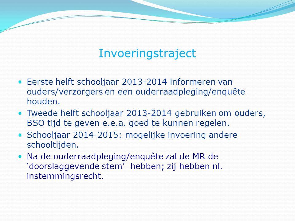 Invoeringstraject Eerste helft schooljaar 2013-2014 informeren van ouders/verzorgers en een ouderraadpleging/enquête houden. Tweede helft schooljaar 2