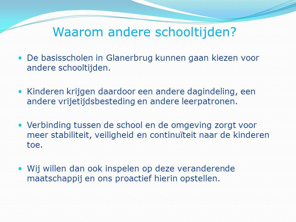 Waarom andere schooltijden? De basisscholen in Glanerbrug kunnen gaan kiezen voor andere schooltijden. Kinderen krijgen daardoor een andere dagindelin