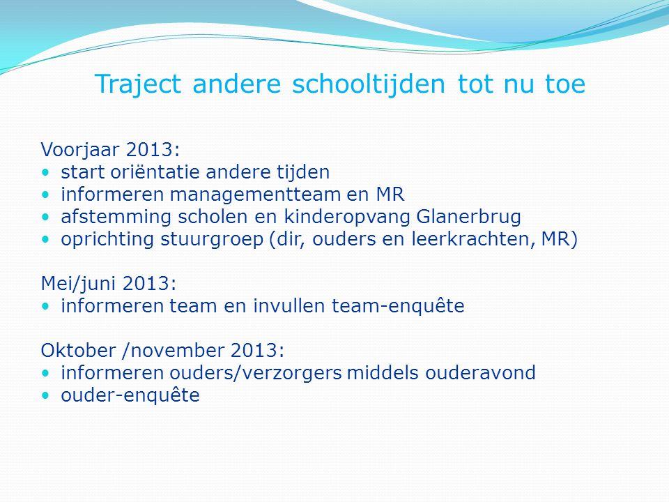 Traject andere schooltijden tot nu toe Voorjaar 2013: start oriëntatie andere tijden informeren managementteam en MR afstemming scholen en kinderopvan
