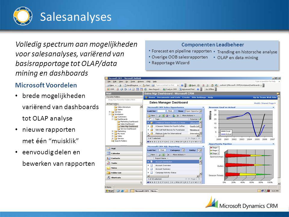 Salesanalyses Volledig spectrum aan mogelijkheden voor salesanalyses, variërend van basisrapportage tot OLAP/data mining en dashboards Microsoft Voord