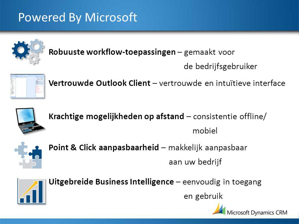 Powered By Microsoft Robuuste workflow-toepassingen – gemaakt voor de bedrijfsgebruiker Vertrouwde Outlook Client – vertrouwde en intuïtieve interface Krachtige mogelijkheden op afstand – consistentie offline/ mobiel Point & Click aanpasbaarheid – makkelijk aanpasbaar aan uw bedrijf Uitgebreide Business Intelligence – eenvoudig in toegang en gebruik
