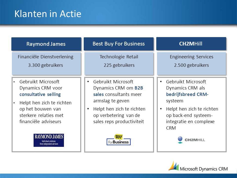 Klanten in Actie Technologie Retail 225 gebruikers Gebruikt Microsoft Dynamics CRM om B2B sales consultants meer armslag te geven Helpt hen zich te ri