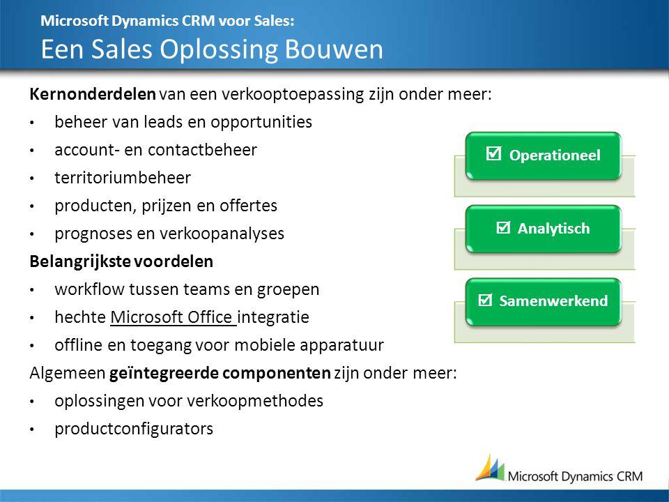 Microsoft Dynamics CRM voor Sales: Een Sales Oplossing Bouwen 29 Kernonderdelen van een verkooptoepassing zijn onder meer: beheer van leads en opportu