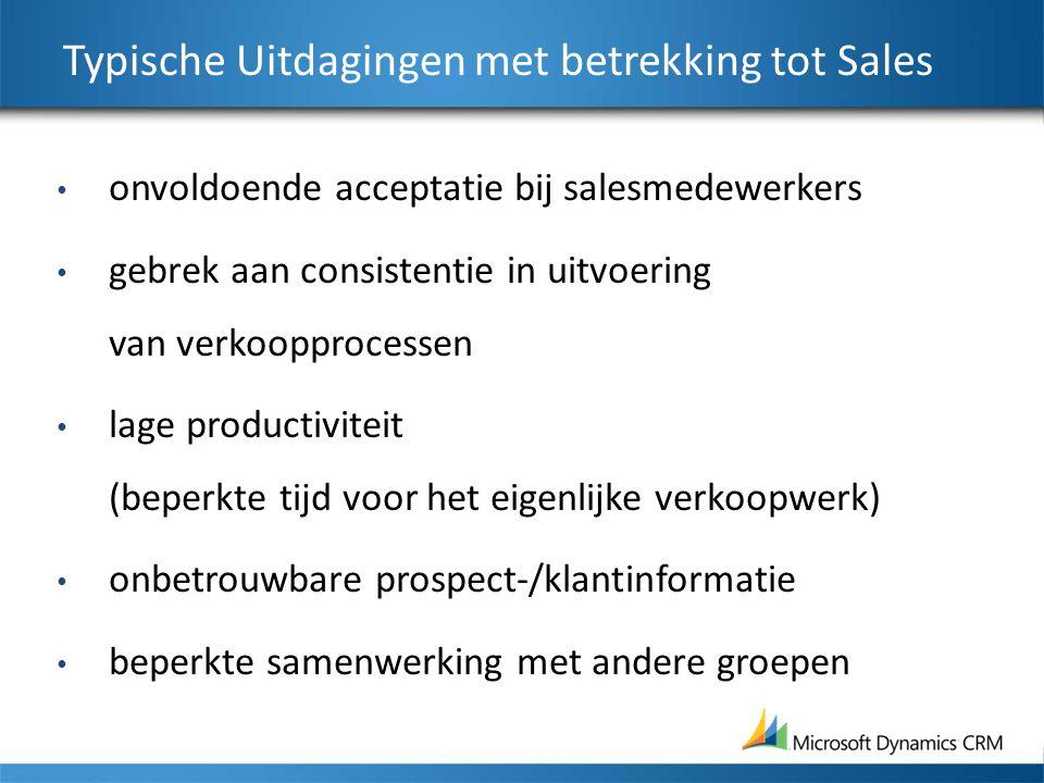Typische Uitdagingen met betrekking tot Sales onvoldoende acceptatie bij salesmedewerkers gebrek aan consistentie in uitvoering van verkoopprocessen lage productiviteit (beperkte tijd voor het eigenlijke verkoopwerk) onbetrouwbare prospect-/klantinformatie beperkte samenwerking met andere groepen